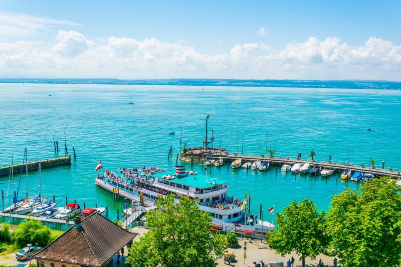 Aerial view of Meersburg and Lake Constance, Germany