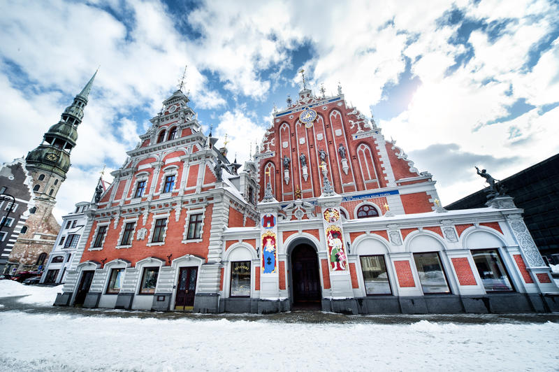 House of the Blackheads and St. Peter's Church in old town of Riga, Latvia