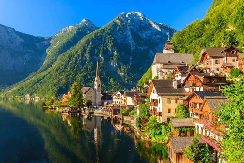 Famous Hallstatt mountain village and alpine lake, Austrian Alps