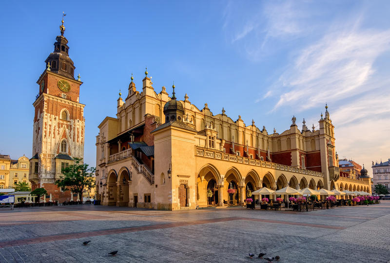 The Cloth Hall and Town Hall Tower in Krakow Olt Town, Poland