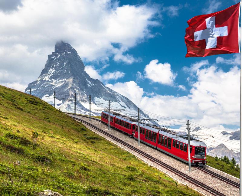 Swiss beauty, rack railway under breathtaking Matterhorn,Zermatt,Valais,Switzerland,Europe