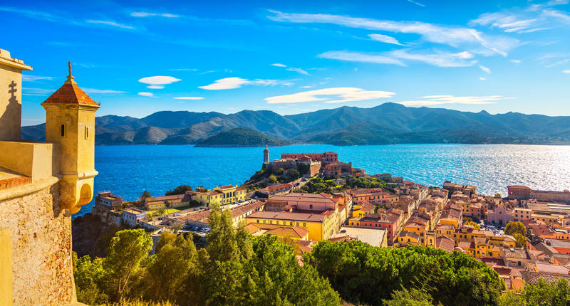 Elba island, Portoferraio aerial view from fort. Lighthouse and fort. Tuscany, Italy, Europe.